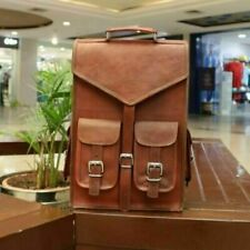Hiking Laptop Messenger Backpack Bag Heavy Duty Genuine Pure Hide Leather Large