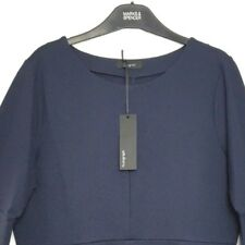 M&S Marks s18 Autograph Navy Blue Fluted Sleeve Pull On Stretch Shell Top BNWT