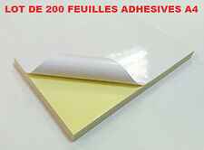 FEUILLE A4 ADHESIVE AUTOCOLLANTE POUR ETIQUETTE D'EXPEDITION - LOT DE 200