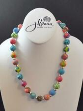 Jilzara Fresco Medium Silverball Necklace Polymer Clay Beads Handmade G4