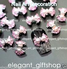 #EA127 10pcs 3D Alloy Jewelry Nail Art Deco Bow Knot Glitter Pink Rhinestones