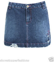 NEW Womens Denim Skirt Ripped Short Mini Skirts Ladies Size 8 10 12 14 Blue Jean