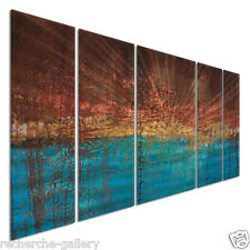 Metal Wall Art Decor Abstract Modern Bronze Copper Teal Electrical Charge