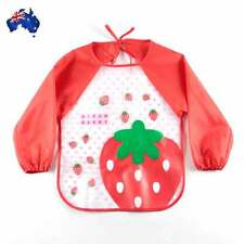 Baby Bibs Long Sleeve Feed Apron Waterproof Straw Berry Smock