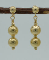 14K  Solid Yellow Gold  6mm Round Bead drop dangle Earrings