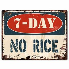 PP1395 7-DAY NO RICE Plate Rustic Chic Sign Home Store Shop Decor Gift