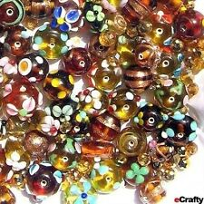 50X  Amber Gold Tone Mixed Crystal Glass Beads For Jewelry Makers