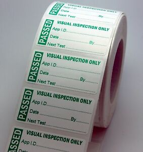 Roll 500 Visual Inspection PAT Labels 51 x 25mm Stickers Scratch Proof