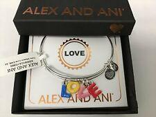 Alex and Ani Color Infusion Love Shiny Silver Charm Bangle Bracelet