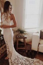 Hot Sexy Sheath Halter Lace Beach Wedding Dresses Bridal Gowns With Bustle Hook