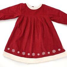 Hanna Andersson Christmas Dress 90 3T Red Corduroy Snowflake Holiday Winter Girl