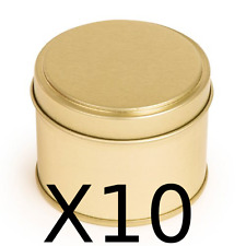 10 Candle tins ~ Make 10 gold colour candle container tins 200ml ~Round step lid