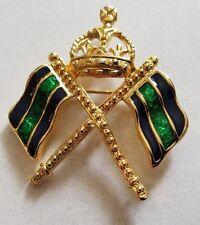 Crown, Green Navy Enamel Flag Carolee Brooch Pin Gold Tone