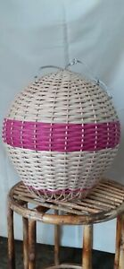 Rattan Handwoven Wicker Pink Air Balloon Shape 2 pcs set Hanging Pendant Lamp