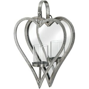 Large Antique Style Silver Tone Mirrored Heart Candle Holder -Wall Sconce 34 cm