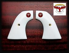 COLT SAA MAGNA-TUSK™ SINGLE ACTION ARMY IVORY GRIPS + Red Steer Skull ^