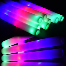 12 Pcs Multicolor LED Light Up Foam Sticks Cheer Flash Batons For Party Wedding