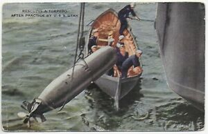 (5682) Old Postcard  Men Rescuing a Torpedo  After Practice by  The U.S.S Utah