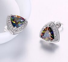 Trillion Cut Fire Mystic Rainbow Topaz 14k White Gold Plated Stud Earrings Italy