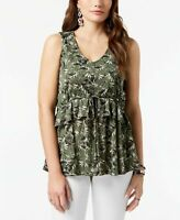 Style & Co Petite Printed Ruffled Top, Size PM,