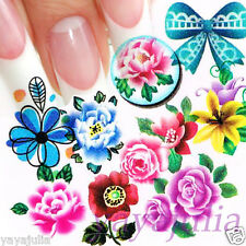 11 Sets Flower Nail Art Decal Water Slide Transfer Temporary Tattoo Stickers W49