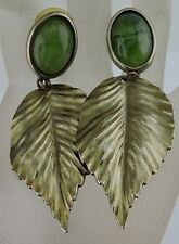 VINTAGE JADE/GREEN PLASTIC CABOCHON DANGLE LEAF POST EARRINGS