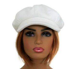 Felt Wool Blend Women's Baker Boy Hat Ladies Newsboy Cap WHITE Retro 60s Style