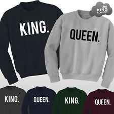 King and Queen Sweatshirt Jumpers Top His & Hers Matching Best Friends Lovers !