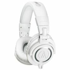 Audio Technica ATH-M50X WH White Closed Back Studio Headphones + Case & Cables