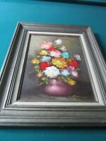 Vintage Floral Oil Painting by Robert Cox original signed