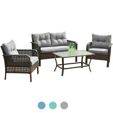 4 Pcs Patio Rattan Wicker Sofa Set Yard Garden Furniture Outdoor Sectional Couch