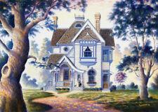Grandma Victorian House Cottage Cat Signed Art Souders