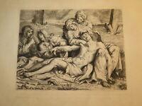 Annibale CARRACCI 1560-1609 GRAVURE PIETA JESUS CHRIST ITALIE AMAND DURAND 1591