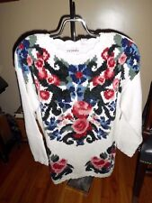 Women's Carolina Colours White Sweater W/ Flowers Size M NWT