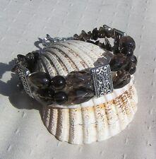 "Smoky Quartz Crystal Gemstone Beaded Chunky Bracelet ""Temptress"""