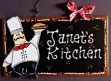 Fat Chef Personalize Name Kitchen Sign Wall Hanger Plaque Cucina Bistro Decor