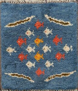 Tribal Authentic Gabbeh Fish Design Area Rug Hand-Knotted Plush Wool Carpet 1x1