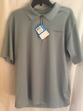 Columbia GREATER HEIGHTS Zip Polo Gray UV OMNI-WICK Golf Fish Tennis Mens Large