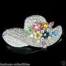 Floral Women Hat Statement Pin Brooch Rainbow made with Swarovski Crystal Flower