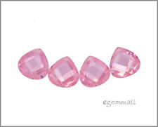 4 CZ Flat Pear Briolette Beads 10x10mm Pink #64627