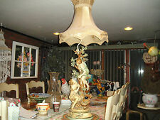 Antique Moreau Signed French Victorian Figural Table Lamp-Boy & Girl In Tree