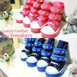 Luxury Pet Apparel- Doggy Leather Boots Pink&Blue Small-Large Shoes Sneakers Cat