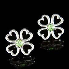 Lucky St Patricks Day w Swarovski Crystal ~4 Leaf CLOVER SHAMROCK Irish Earrings
