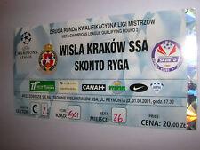 used ticket WISLA Krakow - SKONTO Riga 01.08.2001
