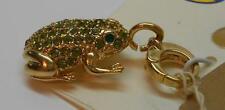 Fossil Charm Long Live Vintage Green Crystal Gold Tone Frog MSRP $34