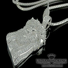 MEN'S FULL ICED OUT REAL STERLING SILVER WHITE GOLD FINISH JESUS CHARM NECKLACE