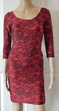 Lace Print Dress Medium American Apparel Tricot Bodycon Short Mini Red USA Made