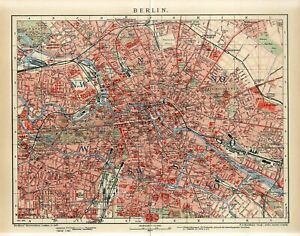 1912 GERMANY BERLIN CITY PLAN Antique Map dated
