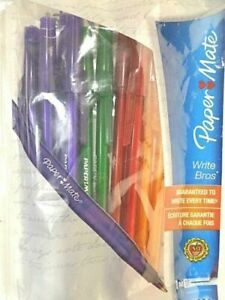 Paper Mate Write Bros 10 Ball Point Pens Red Purple Green Orange 1.0 mm NEW