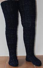 Socken Handarbeit Gr.38-42 Overknee dunkelblau meliert Gr.L-XXL